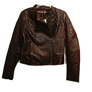 New PART TWO Lamb Leather Moto Jacket